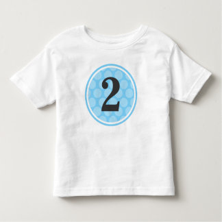 Modern Blue Polka Dot Second Birthday Boy Number 2 T Shirt