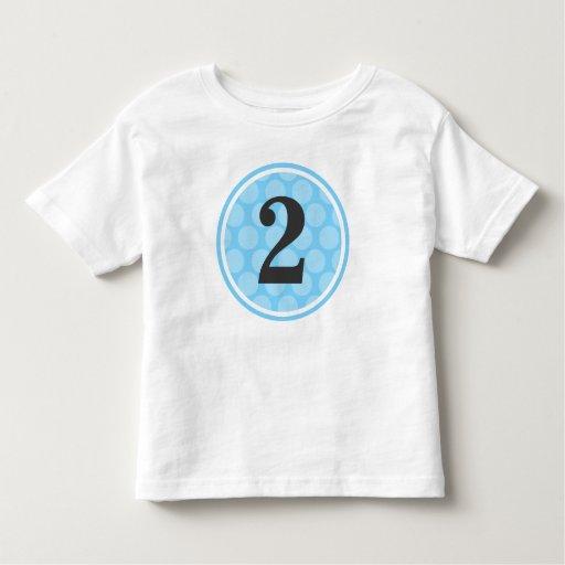 Modern Blue Polka Dot Second Birthday Boy Number 2 Toddler T-shirt