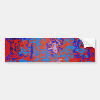 Modern blue psychedelic on red background bumper sticker