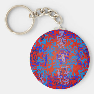 Modern blue psychedelic on red background basic round button keychain