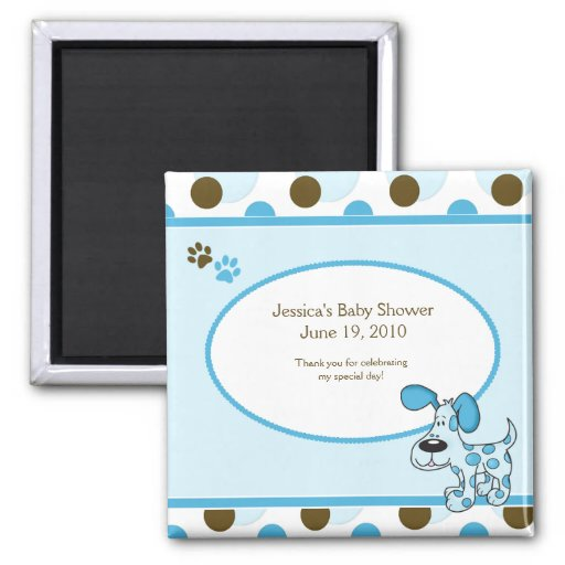 Modern Blue Puppy Baby Shower Magnet Favor