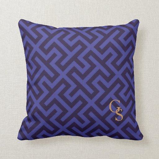 Modern Initial Pillow : Modern blue purple geometric patterns monogram pillows Zazzle