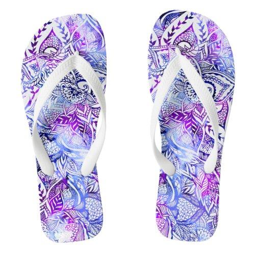 Modern blue purple hand drawn floral boho flip flops