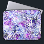 "Modern blue purple hand drawn floral mandala computer sleeve<br><div class=""desc"">A modern,  hand drawn floral design with flowers,  boho geometric shapes,  leaf pattern,  mandala style with blue,  purple and lavender hand painted watercolor</div>"