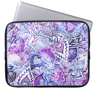 Modern blue purple hand drawn floral mandala computer sleeve