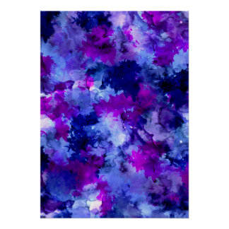 Modern blue purple watercolor brushstrokes poster