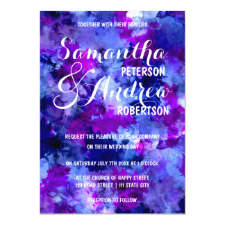 Modern blue purple watercolor Wedding Card