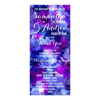 Modern blue purple watercolor Wedding Program