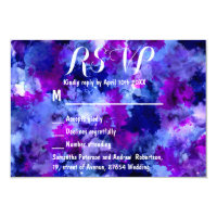 Modern blue purple watercolor wedding RSVP Card