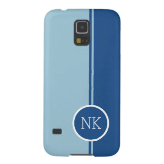 Modern blue round circle Monogram Case For Galaxy S5