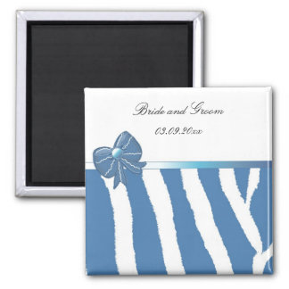 Modern Blue Save the Date 2 Inch Square Magnet