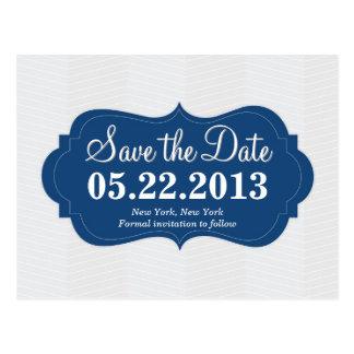 Modern Blue Save the Date Postcard