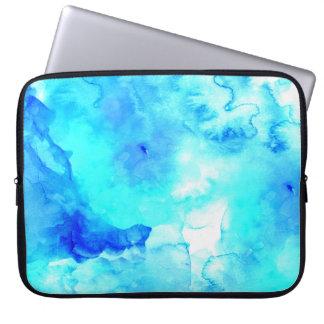 Modern blue sea hand painted watercolor laptop sleeve