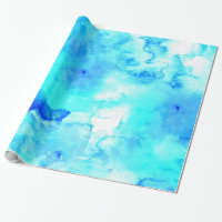 Modern blue sea hand painted watercolor wrapping paper