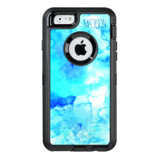 Modern blue sea watercolor custom monogram OtterBox defender iPhone case