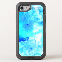 Modern blue sea watercolor monogram OtterBox defender iPhone 8/7 case
