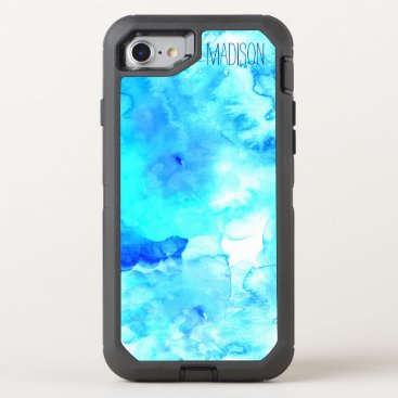 Beach Themed Modern blue sea watercolor monogram OtterBox defender iPhone 8/7 case