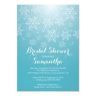 Modern Blue Snowflake Bridal Shower Invitation