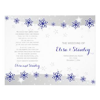 Modern blue snowflakes folded wedding program