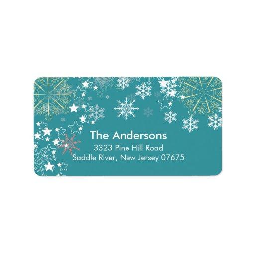 Modern Blue Snowflakes Scene Return Address Label