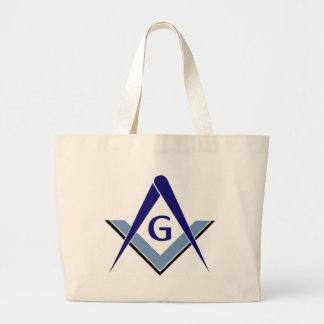 Modern Blue Square & Compasses Canvas Bag