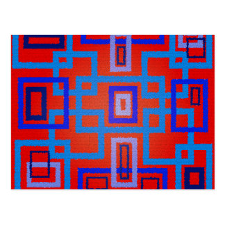 Modern blue squares on red background post cards