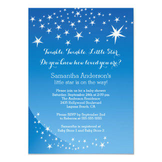 Modern Blue Star Boys Baby Shower Invitation
