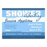 Modern Blue Stripe Baby Shower Invitations
