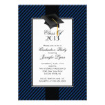 Modern Blue Stripe Graduation Party Invitation