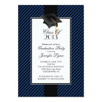 "Modern Blue Stripe Graduation Party Invitation 5"" X 7"" Invitation Card"