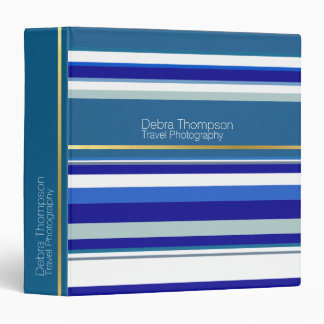 modern blue stripes personalized 3 ring binder