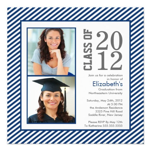 Modern Blue Stripes Photo Graduation Invitation