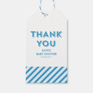 Modern Blue Stripes Thank You Baby Shower Gift Tags