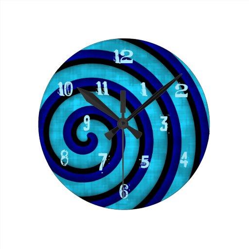 Modern blue swirl design with funky numbers wallclocks