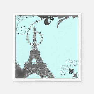 modern  blue swirls vintage Paris Eiffel Tower Paper Napkin