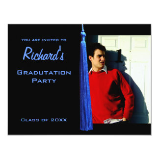 Modern Blue Tassle Graduation Photo Invite