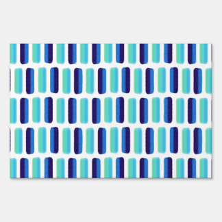 Modern blue teal watercolor strokes pattern lawn signs