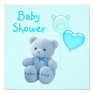 Modern Blue Teddy Bear Baby Shower Invitation