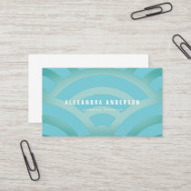 Modern Blue & Turquoise Wave Pattern Business Card