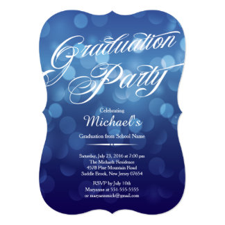 Modern Blue Typography Bokeh Graduation Party Card