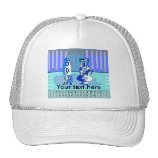Modern blue vases mesh hats