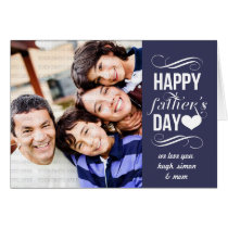 Modern Blue Vintage Banner Father's Day Photo Card