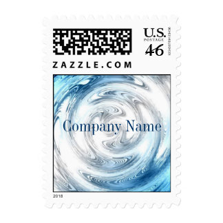 modern blue water abstract business promotional postage stamp