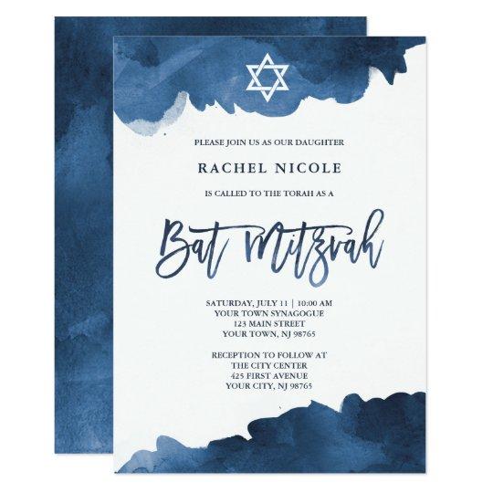 Modern Blue Watercolor Bat Mitzvah Invitation