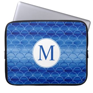 Modern Blue Watercolor Geometric Pattern Monogram Computer Sleeve