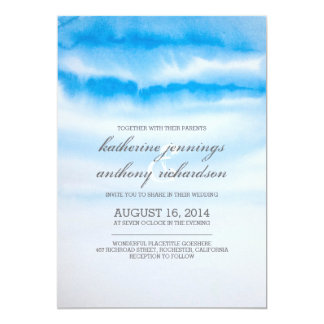 Modern blue watercolor wedding invitations