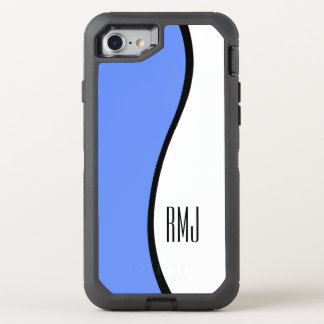 Modern Blue Wave Monogram OtterBox Defender iPhone 7 Case