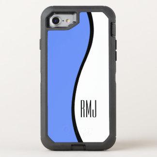 Modern Blue Wave Monogram OtterBox Defender iPhone 8/7 Case