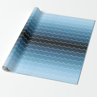 Modern Blue Wave Pattern Gradient Wrapping Paper