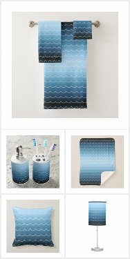 Modern Blue Wave Pattern Home Decor